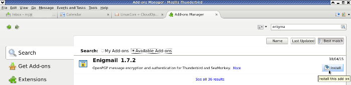 how to add enigmail to thunderbird